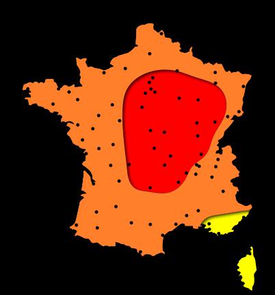 Carte des risques d'allergies pour les pollens de Graminées