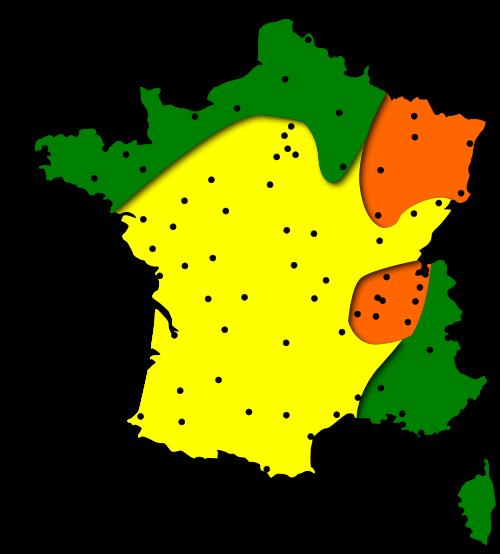 Carte des risques d'allergies pour le pollen d'Aulne