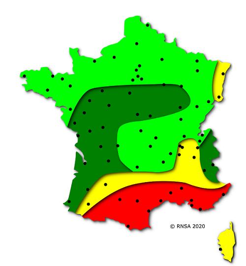 Carte des risques d'allergies pour le pollen de Cyprès